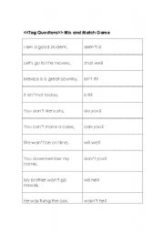English Worksheets: Tag Questions Matching