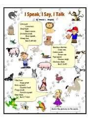 English Worksheet: I Speak, I Say, I Talk - animal sounds