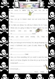 English Worksheet: Treasure Hunt Activity