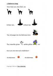 English worksheet: A Halloween Song