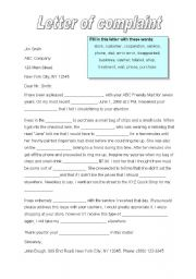 English worksheets a letter of complaint english worksheet a letter of complaint spiritdancerdesigns Gallery