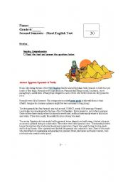 English Worksheet: Pyramids and Egypt