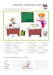 English Worksheet: school objects and prepositions of place