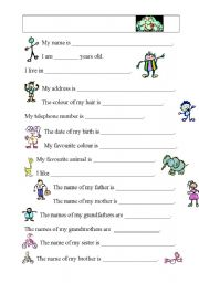 Me and my family - worksheet by loebe