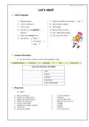 English Worksheets: Let�s Start!