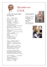 English Worksheet: november rain part 1