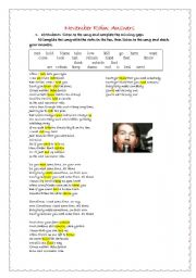 English Worksheet: november rain keys part 1