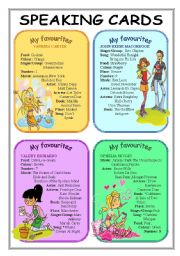 English Worksheets: My favourite   (speaking cards part 3)