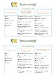 English Worksheets: Personal Identification Chart