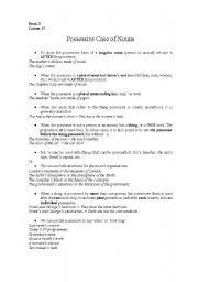 English Worksheets: Possessive Case of Nouns