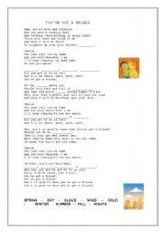 English Worksheet: you´ve got a friend ( James Taylor )