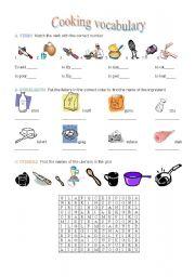 english worksheets cooking vocabulary. Black Bedroom Furniture Sets. Home Design Ideas