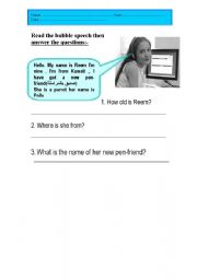 English Worksheets: Reading comprehension 1