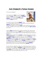 English Worksheets: Jack Sheppard´s Famous escapes