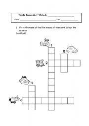 English Worksheet: transports crossword