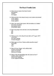 English Worksheet: The British Royal Family Quiz