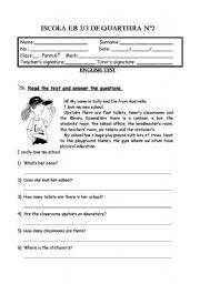 English Worksheet: Written Test, 6th grade