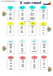 English Worksheet: Support Reading  Cards / Phonics/