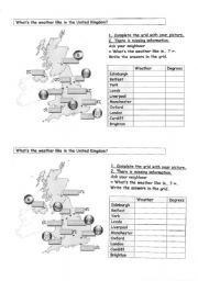 English Worksheets: pair work- weather