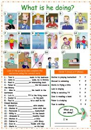 English Worksheets: What is he doing? (present continuous)