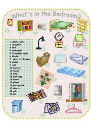English Worksheet: What�s in the Bedroom?