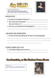 English Worksheet: Mary Shelley and Frankenstein