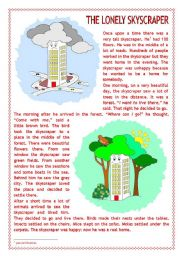 English Worksheets: The lonely skyscraper