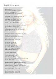 English Worksheets: Beautiful, Christina Aguilera