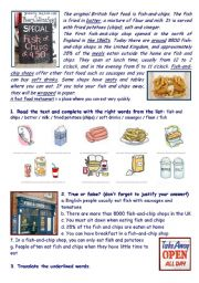 English Worksheet: Fish-and-chip shops in the UK