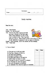 English Worksheets: Daily Rouines