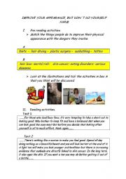 English Worksheets: Improve your appearance, but don�t do harm to yourself