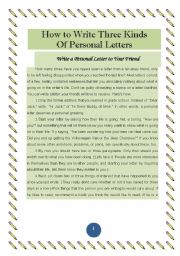 English Worksheet: HOW TO WRITE THREE KINFS OF PERSONAL LETTERS