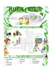 English Worksheet: Planning a weekend (going to)