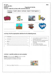 English Worksheets: preparing for the trip
