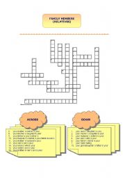 English Worksheet: family members - crossword