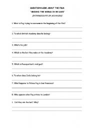 English Worksheets: Advanced questionnaire on a film