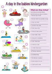 English Worksheets: A day in the kindergarden-present progressive