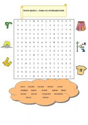 English Worksheet: WORD SEARCH:  FAMILY/CLOTHES/WEATHER