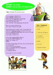 English Worksheet: Lyrics & Exercises: Toy Story - You�ve got a friend in me