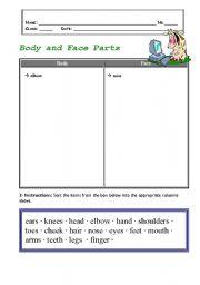 English Worksheets: body and face