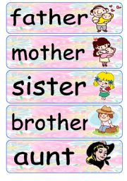 English Worksheet: Family Flash Cards 1