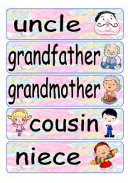 English Worksheet: family flash cards 2