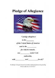 english worksheets pledge of allegiance. Black Bedroom Furniture Sets. Home Design Ideas