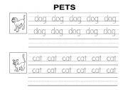 English Worksheets: Pets - Handwritting exercise