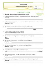 English Worksheet: Formative Test - Contrast Clauses