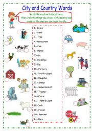 English Worksheet: Country and City Words