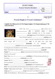 English worksheets: present simple present continuous worksheets ...
