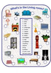 English Worksheet: What´s in the Livingroom?