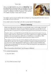 English Worksheets: Rescue Dog Reading