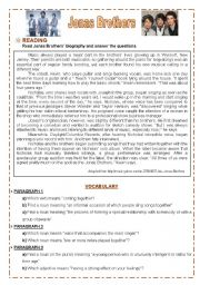 English Worksheets: Lesson - Jonas Brothers
